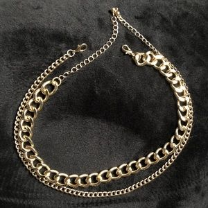 2pcs Gold curb CHOCKER necklace